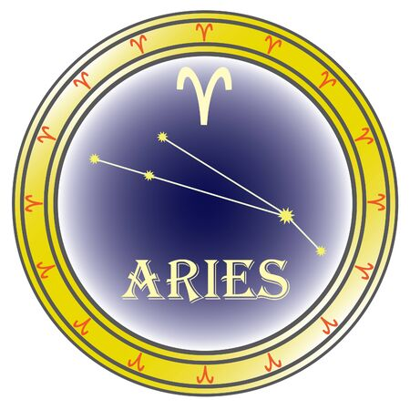zodiac sign aries in the circle on the white background Stock Vector - 9933624