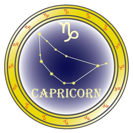 zodiac sign capricorn in the circle on the white background Vector