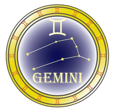 Zodiac firmar gemini en el círculo sobre el fondo blanco