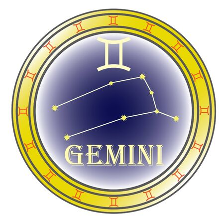 zodiac sign gemini in the circle on the white background Vector