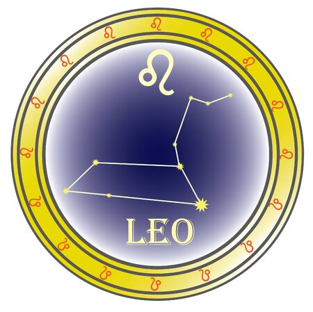zodiac sign leo in the circle on the white background