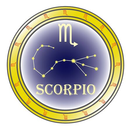 zodiac sign scorpio in the circle on the white background Illustration
