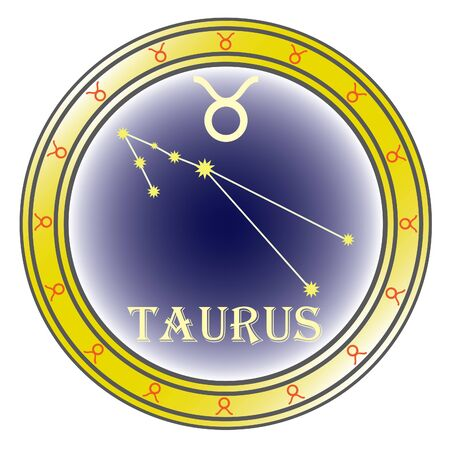 zodiac sign taurus in the circle on the white background Stock Vector - 9933641