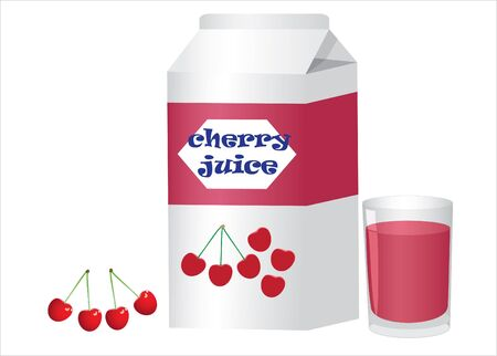 Box with glass of cherry juice and cherries on the white background