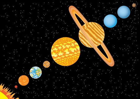 Nine planets and sun standing in line in space Illustration