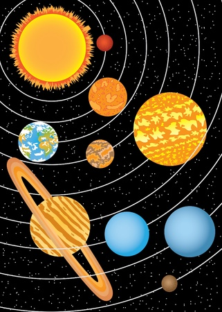 Nine planets moving around sun in space Vector
