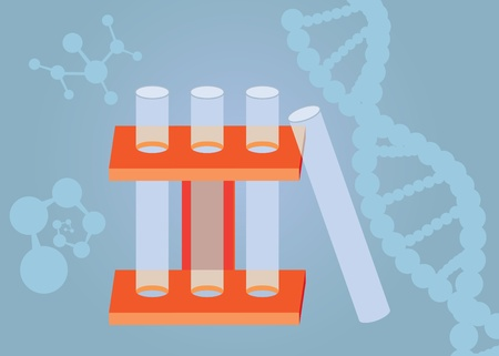 three test tubes with shapes of atoms and DNA at the background Stock Vector - 10236397