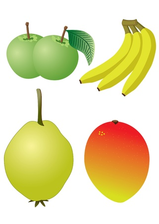 Set of fruits on the white background. Apple, banana, mango, quince.