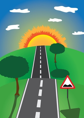 sun road: road to the horizon with trees and road sign Illustration