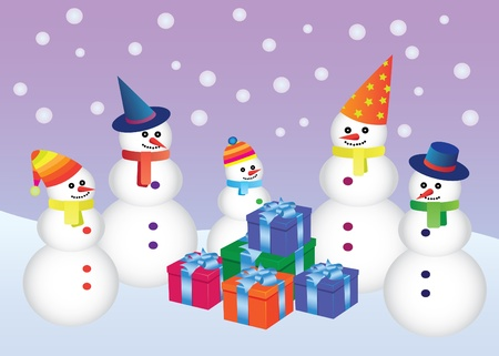 christmass: five snowmen standing around boxes with presents Illustration