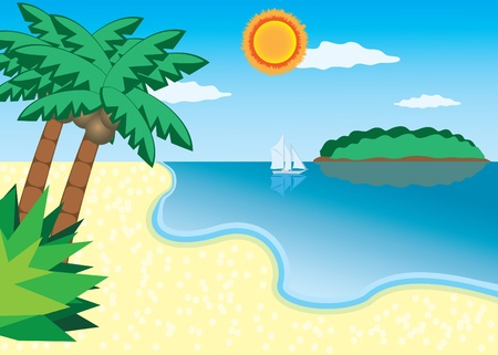 Sea beach with trees, island and ship at the sea Illustration