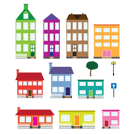neighbourhood: Set of coloured houses, tree, lamp and road sign on the white background. Illustration