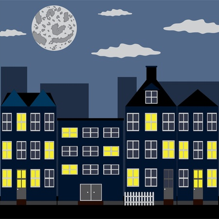 Group of houses under night sky with moon Illustration