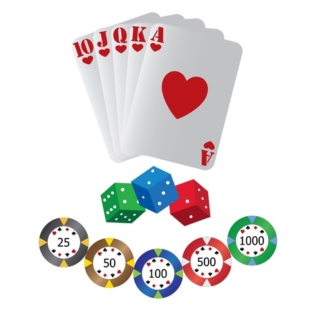 Playing cards, dice and tokens on the white background