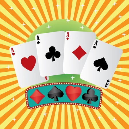 Four aces of playing cards on abstract background Illustration