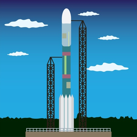 Rocket standing on the platform ready to launch in space Illustration
