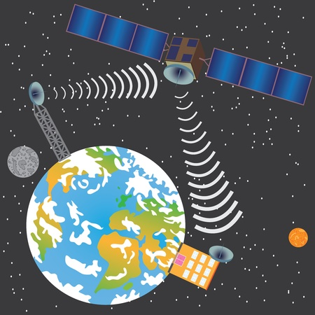 Satellite transmit signal from earth to house through space Vector