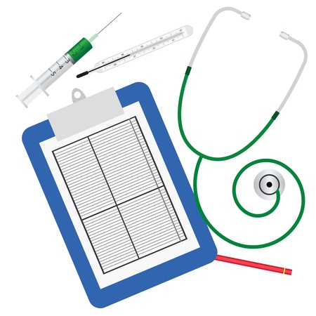 Stethoscope, termometer, syringe and clipboard with red pencil on the white background Stock Vector - 10498704