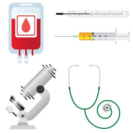 seringues: Lot de mat�riel m�dical et des outils sur le fond blanc Illustration
