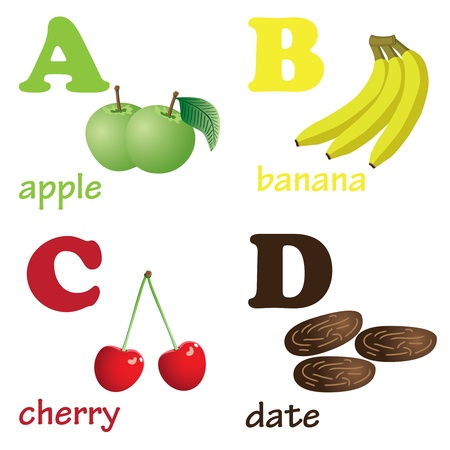 Illustrations of alphabet letters from A to D with pictures of fruits Stock Vector - 10550738