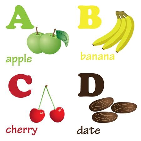 dates fruit: Ilustraciones de letras del alfabeto de la a la d con im�genes de frutas Vectores