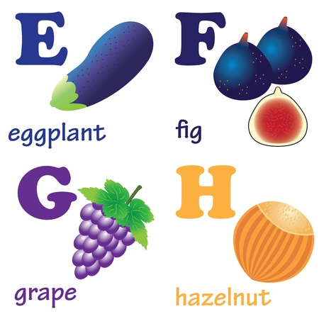 Illustrations of alphabet letters from E to H with pictures of fruits