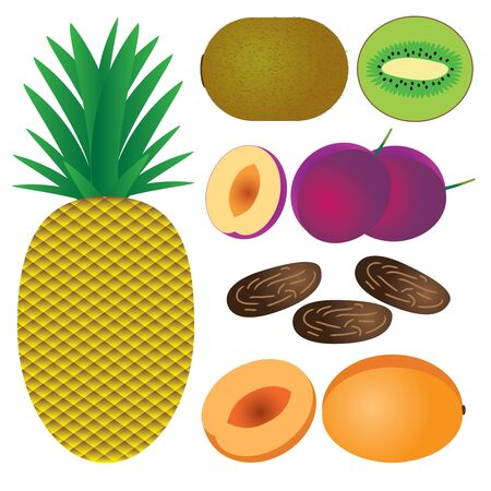 Set of fruits on the white background. Pineapple, peach, plum, date, kiwi.