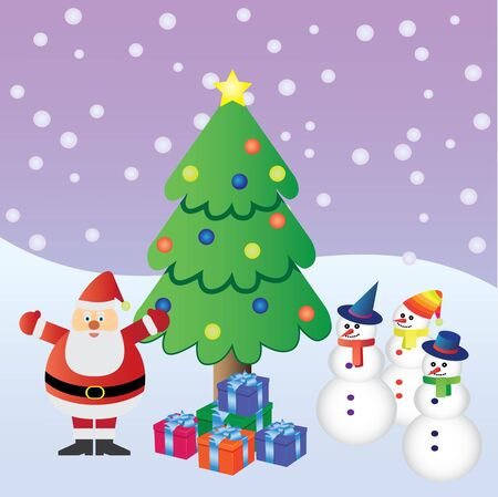 Santa Claus with presents near christmas tree and three snowmen. Stock Vector - 11531659