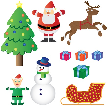 Christmas theme set. Images of Santa Claus, christmas elf, christmas tree, boxes with presents, snowman, sleigh. Vector