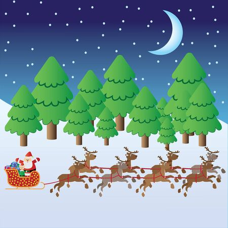 Santa Claus with christmas elf and presents in sleigh with deers riding through winter forest. Stock Vector - 11531661