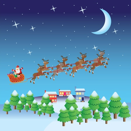 Santa Claus with christmas elf and presents in sleigh fly with deers in sky. Vector