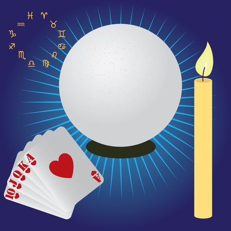 Items used for fortune telling. Crystal sphere, candle, cards. Vector