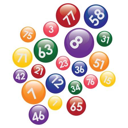 jackpot: Boules de loterie avec des num�ros color�s sur fond blanc.
