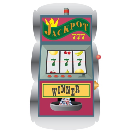 Casino slot machine with winning combination on the white background.