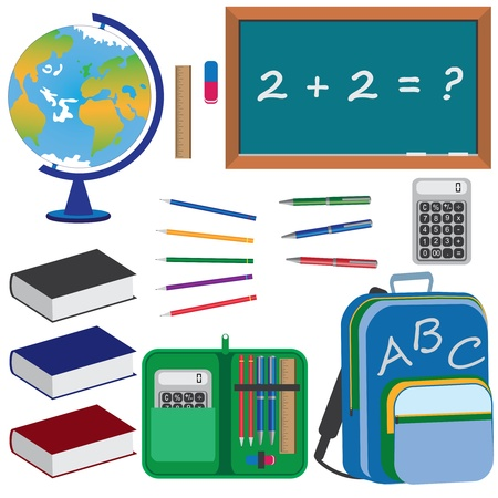 Ensemble d'objets pour l'éducation à l'école sur le fond blanc.