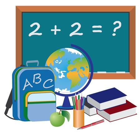 Image of objects for education in school on the white background. Vector