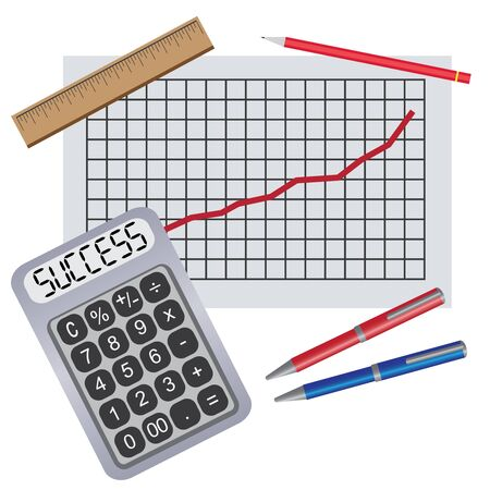 Calculator with pens, ruler and progress chart on the white background. Illustration