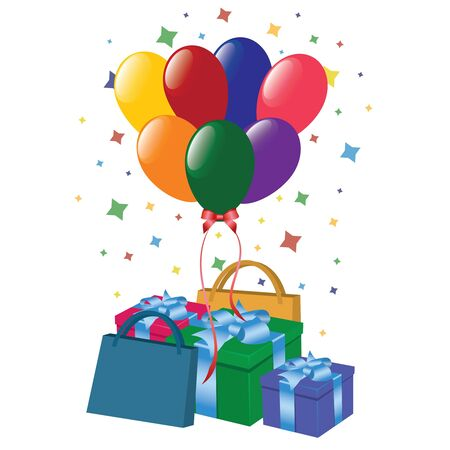 baloon: Bags, presents and baloons on the white background. Illustration