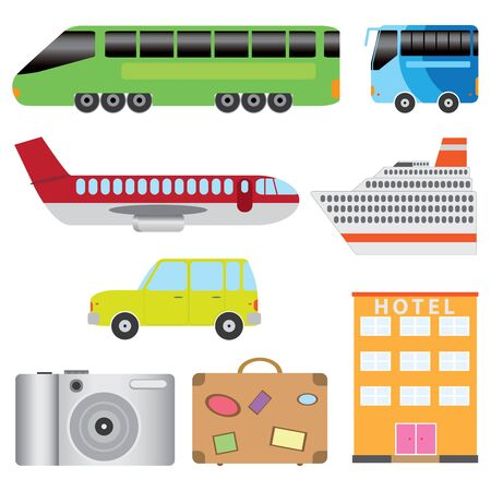 Set of transport and tourism on the white background. Stock Vector - 11663072