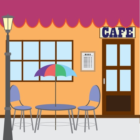 Table and chairs standing near cafe shop. Stock Vector - 11883748