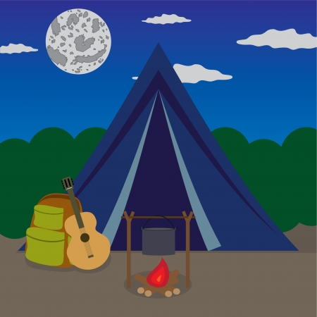 Fireplace near tent in forest at the night. Illustration