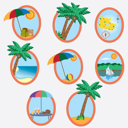 Set of eight icons with vacation theme on the white background. Illustration