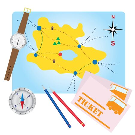 waypoint: Compass, pencils, bus tickets on the map of adventure.