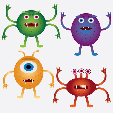 Set of coloured cartoon microbes on the white background.