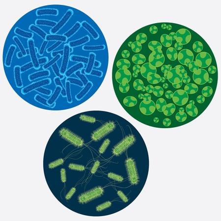 Drie cirkels met abstracte beelden van virussen.