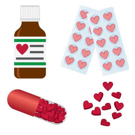 Set of medical pills with shape of hearts.