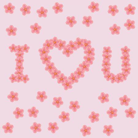 i love u: Lettres I LOVE U � base de fleurs sur le fond rose. Illustration