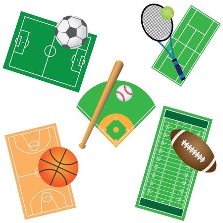 tennis stadium: Conjunto de campos y pelotas para los juegos deportivos en el fondo blanco.
