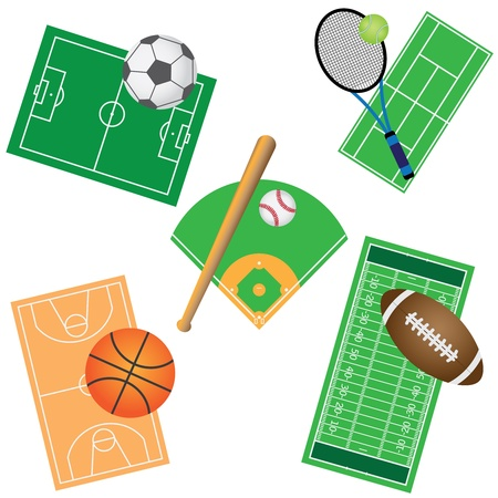 Set of fields and balls for sport games on the white background. Illustration