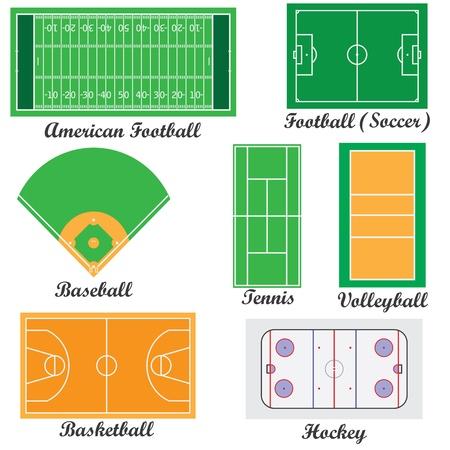 hockey cesped: Conjunto de campos para los juegos deportivos en el fondo blanco. Vectores